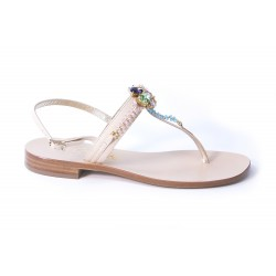 Sandal with multicolored stones