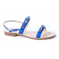 Sandal with double bride and stones