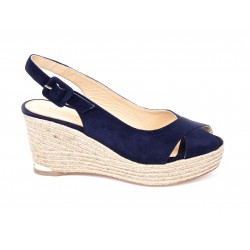 Suede espadrille wedge sandals