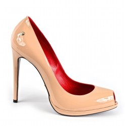Pumps peep-toe in patent leather