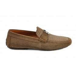 Driving shoes in woven nubuck