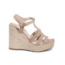 Suede espadrille wedge sandals