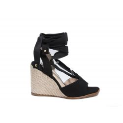 Suede wedge sandals with ankle string