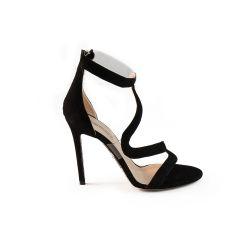 Sandale en daim avec empiècement en plexi