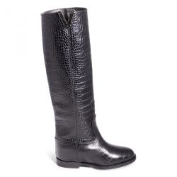 Boot printed crocodyle with internal heel
