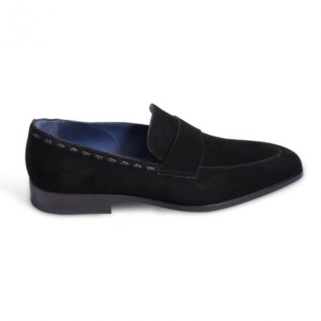 Loafer in suede with embroidery