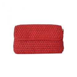 Clutch bag in woven leather